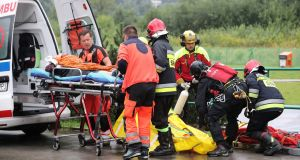 An injured tourist is transported to  hospital in Zakopane, Poland, on Thursday, after a lightning strike. Photograph: EPA