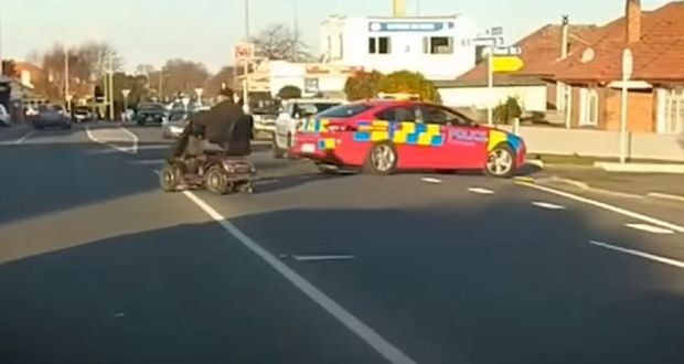 Mobility scooter fugitive evades police in low-speed chase