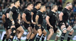 The All Blacks perform the Haka before their Bledisloe Cup victory over Australia. Photograph: Greg Bowker/AFP/Getty