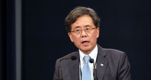 Kim Hyun-chong, South Korea's deputy national security adviser: Seoul will share intelligence with Japan through a three-way channel involving the United States. Photograph: SeongJoon Cho/Bloomberg