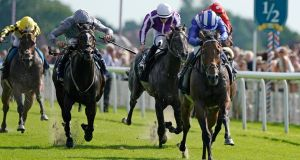 Jim Crowley riding Battaash to win the Coolmore Nunthorpe Stakes at York. Photograph:   Alan Crowhurst/Getty Images