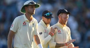 England captain Joe Root (centre) with  Ben Stokes and Stuart Broad leave the field after day two of the third Ashes test against Australia  at Headingley. Photograph:  Stu Forster/Getty Images