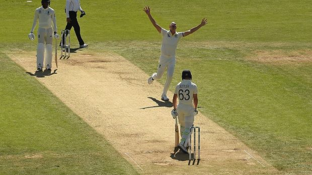 Australia's Josh Hazlewood celebrates taking the wicket of England's Jos Buttler ) during the second day of the third Ashes Test at Headingley. Photograph: Paul Ellis/AFP/Getty Images