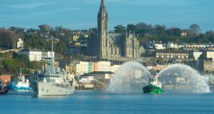 The LÉ Samuel Beckett passes Cobh on the way back to  Haulbowline after operations  in  the Mediterranean. Photograph:  Michael Mac Sweeney/Provision