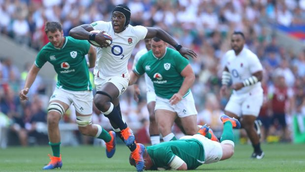 Rugby Maro Itoje carries for England during their rampant win over Ireland. Photograph: Warren Little/Getty