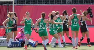 Ireland celebrate a goal against Germany earlier in the EuroHockey Championships, in which they finished fifth. Photograph: Olivier Hoslet/EPA