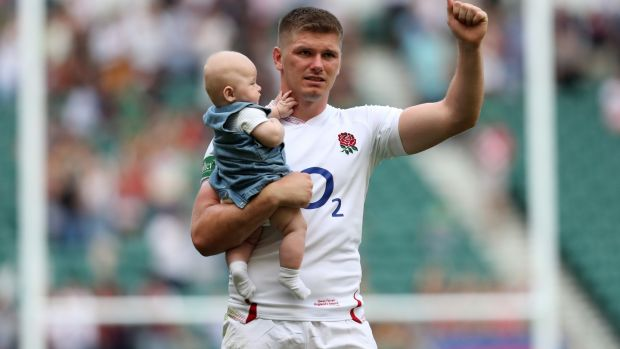 Owen Farrell with his son Tommy after England's win over Ireland. Photograph: Shaun Botterill/Getty