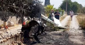 Debris after a plane and a helicopter collided in flight over the village of Inca on Sunday. Photograph: EPA/Incendios F Baleares