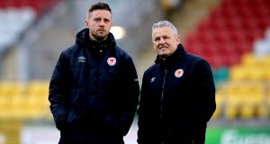 St. Patrick's Athletic director of football Ger O'Brien with manager Harry Kenny. Photo: Ryan Byrne/Inpho