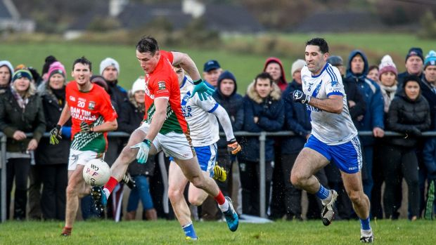 Mark Griffin of St Michaels-Foilmorebreaks from Bryan Sheehan of Saint Mary's during the South Kerry quarter-final in 2018. Photograph: Stephen Kelleghan