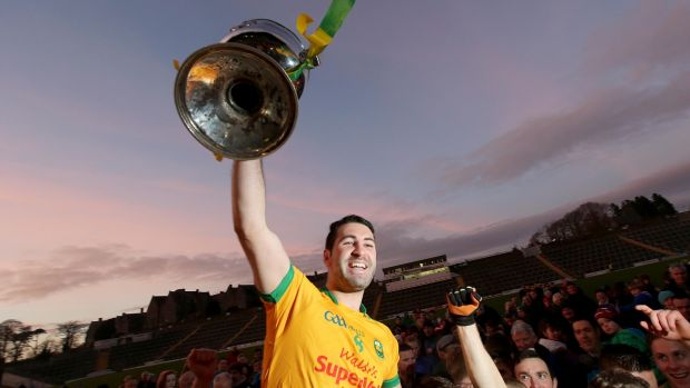 South Kerry captain Bryan Sheehan with the Kerry Senior Football Championship trophy in 2015. Photo: Donall Farmer/Inpho