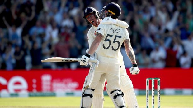 Ben Stokes and Jack Leach celebrate England's stunning win over Australia in Leeds. Photograph: Tim Goode/PA