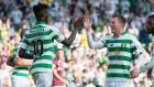 Celtic's Callum McGregor celebrates scoring his side's second goal with Vakoun Bayo. Photograph: Jeff Holmes/PA