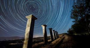 STARRY NIGHT: A long exposure image shows circumpolar stars over the ancient Roman city of Juliobriga, in the village of Retortillo, Cantabria, northern Spain. Photograph: Pedro Puente Hoyos/EPA