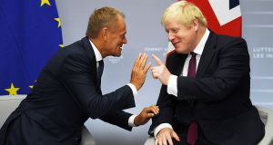 European Council president Donald Tusk  and Britain's prime minister Boris Johnson: US has pledged a big trade deal to Britain in wake of Brexit.  Photograph: Neil Hall