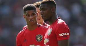 Marcus Rashford and Paul Pogba of Manchester United during their Premier League match against Crystal Palace at Old Trafford on Saturday. Photograph: Mark Leech/Offside via Getty Images