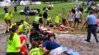 Spectators are tended to after a lightning strike on the East Lake Golf Club course left several injured during the Tour Championship, in Atlanta, Georgia, US. Photograph: AP Photo/John Amis