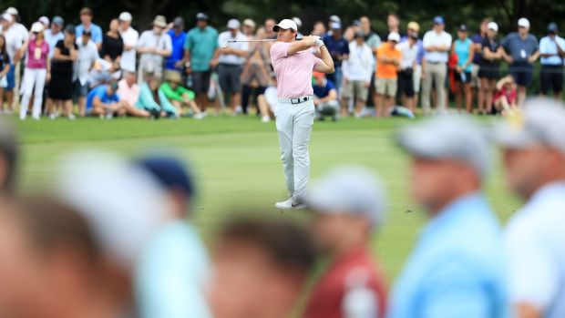 McIlroy plays a shot on the third hole during the final round. Photo: Streeter Lecka/Getty Images
