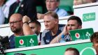 Joe Schmidt looks on during Ireland's record defeat to England at Twickenham. Photograph: Billy Stickland/Inpho