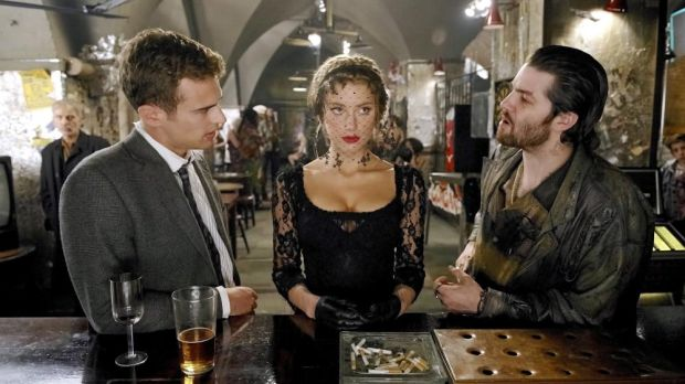 Amber Heard as Nicola Six, with Theo James (left) as Guy Clinch and Jim Sturgess as Keith Talent in Mathew Cullen's film of London Fields (2018). Photograph: Steffan Hill/Allstar/Head Gear Films