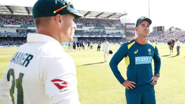 David Warner and head coach Justin Langer after Australia's defeat in Leeds. Photograph: Ryan Pierse/Getty