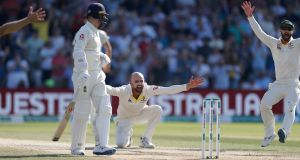 Nathan Lyon unsuccessfully appeals for the wicket of Ben Stokes at  Headingley. Photograph: Ryan Pierse/Getty