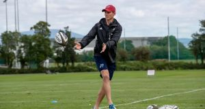 Munster senior coach Stephen Larkham during a training session on Monday. Photo: Morgan Treacy/Inpho