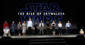 From left to right:  Billy Dee Williams, Anthony Daniels, Keri Russell, Naomi Ackie, Joonas Suotamo, Kelly Marie Tran, Oscar Isaac, John Boyega, Daisy Ridley, producer Kathleen Kennedy, and director/producer/writer JJ Abrams of Star Wars: The Rise of Skywalker took part in the Walt Disney Studios presentation at Disneys D23 EXPO 2019 in Anaheim, California on Monday. Photograph: Jesse Grant/Getty
