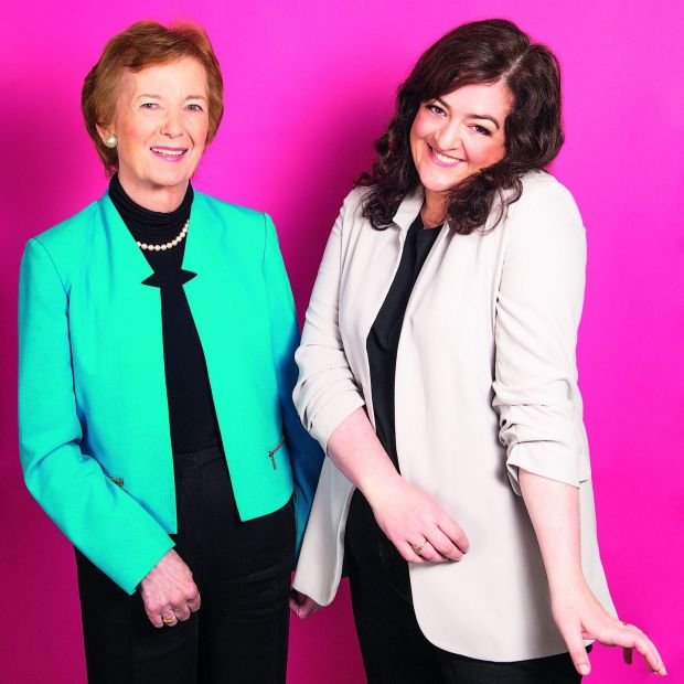 Mothers of Invention: Maeve Higgins with her podcast cohost Mary Robinson. Photograph: Ruth Medjber