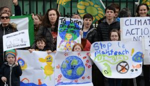 Members of Fridays for Future urging action on climate change outside the Dáil in February. File photograph: Alan Betson
