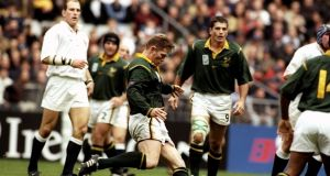 Jannie De Beer of South Africa kicks the fourth of his five drop goals against England in the 1999 World Cup quarter-final  at the Stade de France in Paris. South Africa won 44-21. Photograph:  Dave Rogers/Allsport