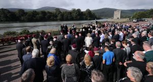 An inter-denominational prayer service is held at Narrow Water close to Warrenpoint in Co Down to mark the 40th anniversary of the death of 18 soldiers on August 27th, 1979. Photograph: Niall Carson/PA