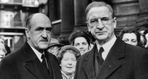 Circa 1955: taoiseach Éamon de Valera (1882 - 1975) with Frank Aiken (1898 - 1983). Photograph:  Sean Sexton/Getty Images