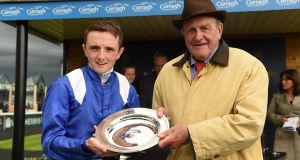 Jockey Chris Hayes with trainer Kevin Prendergast after Awtaad's victory in the Tattersalls Irish 2,000 Guineas at the Curragh in 2016.  Photograph:  Paul Mohan/Sportsfile via Getty Images