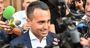 Italy's deputy prime minister and leader of the Five Star Movement,  Luigi Di Maio, speaks to reporters in Rome on Monday. Photograph: Alberto Pizzoli/AFP/Getty Images