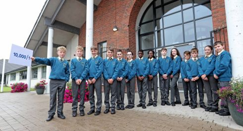 SEEING DOUBLE: Seven sets of twins are inducted into first year at Glanmire Community College in Cork for the second year in a row - the chances of which happening are apparently 1 in 10,000. From left are Jack and Callum O'Connor, Peter and Sean O'Brien, Adam and Sarah Hayes, Japheth and Joanna Kolawole, Ethan and Heather Bowman, Zach and Howard O'Connor, and Oliwia Przychodzka and Oskar Przychodzki. Photograph: Jim Coughlan.