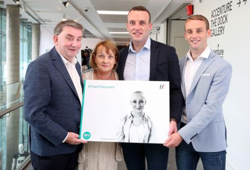 HPV ACTION: The family of late HPV vaccine campaigner Laura Brennan (pictured) - her father Larry, mother Bernie and brothers Fergal and Kevin - help out as the HSE launches a HPV vaccination programme for all first-year secondary school students, including boys. Photograph: Marc O'Sullivan