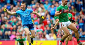 Dublin's Con O'Callaghan celebrates one of his two goals against Mayo in the semi-final. Photograph: Tommy Dickson/Inpho