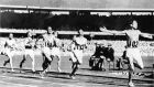 Ronnie Delany of Ireland wins the 1,500 metres at the Melbourne Olympic Games of 1956. File photograph: IOC/Allsport/Getty