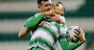 Shamrock Rovers' Graham Burke celebrates scoring a goal with Aaron Greene during the SSE Airtricity League Premier Division, match at Tallaght Stadium. Photograph: Laszlo Geczo/Inpho