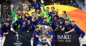 Chelsea won the Europa League in Baku but the city's remoteness kept many fans away, while Arsenal's Henrikh Mkhitaryan did not travel owing to safety concerns. Photograph: Michael Regan/Getty Images