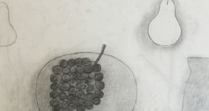 Untitled (Plate, Grapes, Pear & Jug), William Scott, 1975, charcoal on paper, 50 x 65cm
