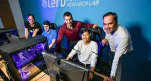 Pictured at the Lero Esports Science research lab are (from left) postgraduate researcher Jessica Mangione, research assistant Niall Ramsbottom, programme manager Dr Adam Toth, postgraduate researcher Yueying Gong and lab Director Dr Mark Campbell. Photograph: Diarmuid Greene/True Media