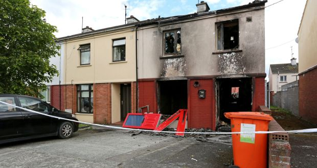 A burnt-out house in Drogheda's Moneymore estate following a petrol-bombing incident.