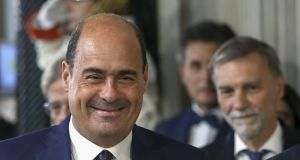 Nicola Zingaretti, leader of the Democratic Party,  arrives for a news conference following a meeting with Italian president Sergio Mattarella at the Quirinale Palace in Rome. Photograph: Alessia Pierdomenico/Bloomberg