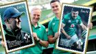 Joe Schmidt and Johnny Sexton with large versions of An Post's new stamps. Photograph: Maxwell