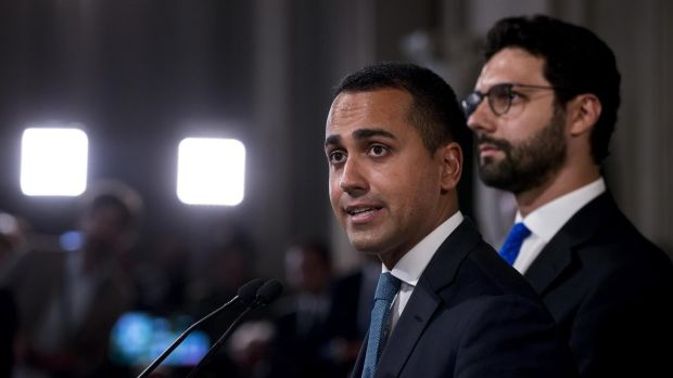 Italian Five Star Movement leader Luigi Di Maio addresses the media after a meeting with President Sergio Mattarella on Wednesday. Photograph: Angelo Carconi/EPA