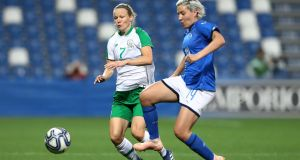 Ireland's Diane Caldwell in action against Italy during a friendly match in April in Mapei Stadium, Reggio Emilia, Italy. Photograph: Matteo Ciambelli/Inpho