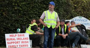 Independent farmers and supporters protest outside the Dawn Meats plant at Grannagh on the Waterford/ Kilkenny border. Photograph: PA
