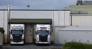 Trucks at Meadow Meats in Rathdowney, Co Laois, where  protests are continuing. Photograph: PA